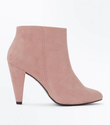 Wide Fit Pink Suedette Cone Heel Shoe Boots