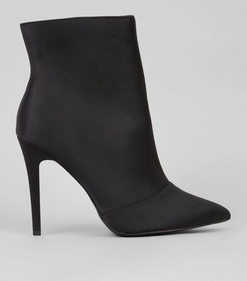 Wide Fit Black Satin Heeled Boots