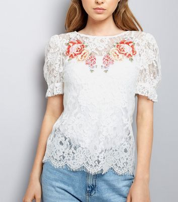 Cream Floral Embroidered Lace Puff Sleeve Top