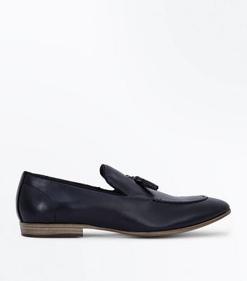 Black Leather Look Tassel Loafers