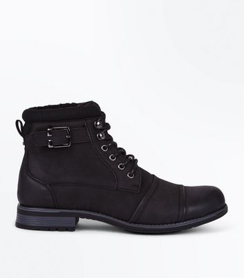 Black Buckle Lined Military Boots