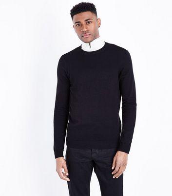 Black Cotton Crew Neck Jumper | New Look