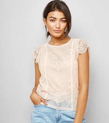 Pink Scallop Lace Trim Mesh Top