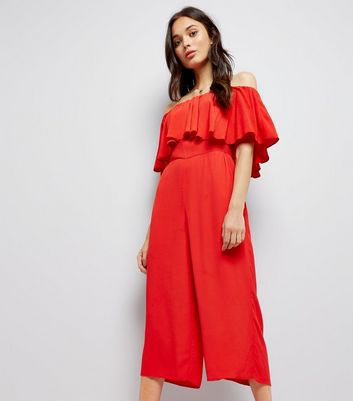 Red Bardot Neck Maxi Playsuit