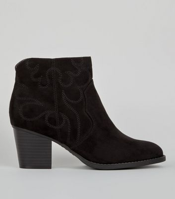 Wide Fit Black Suedette Stitch Detail Western Boots