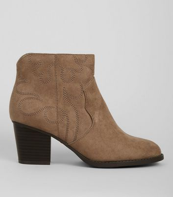 Wide Fit Stone Suedette Stitch Detail Western Boots