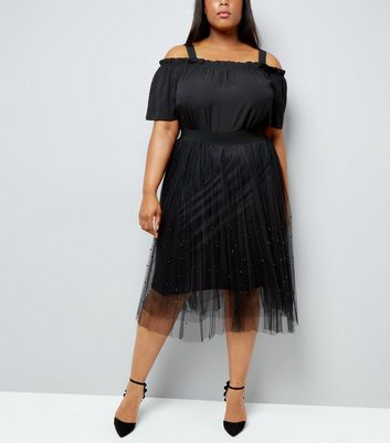 Curves Black Beaded Mesh Midi Skirt