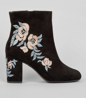 Wide Fit Black Floral Embellished Ankle Boots