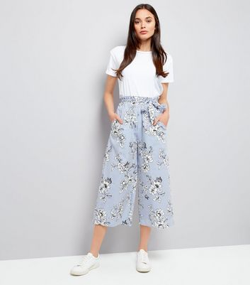 Blue Pinstripe and Floral Print Culottes
