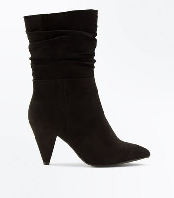 Wide Fit Black Suedette Cone Heel Calf Boots