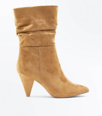 Wide Fit Tan Suedette Cone Heel Calf Boots