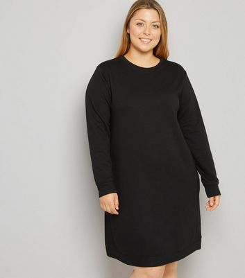 Curves Black Longline Sweater Dress