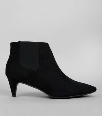 Wide Fit Black Suedette Kitten Heel Chelsea Boots