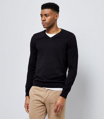 Black Cotton V Neck Jumper