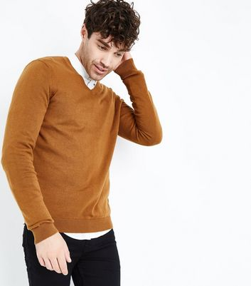 Tan Cotton V Neck Jumper