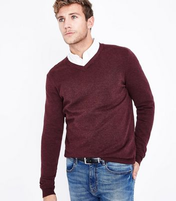 Burgundy Cotton V Neck Jumper