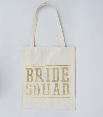 Gold Bride Squad Print Canvas Bag