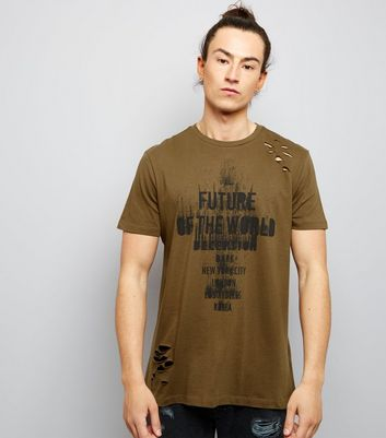 Khaki Ripped Future Of The World Print T-Shirt