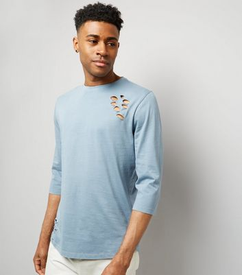 Pale Blue Ripped 3/4 Sleeve T-Shirt