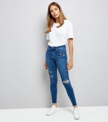 Blue Floral Embroidered Ripped Skinny Jenna Jeans
