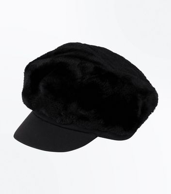 Black Faux Fur Baker Boy Hat