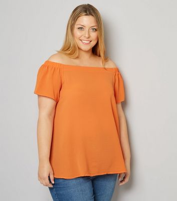 Curves Orange Crepe Bardot Neck Top