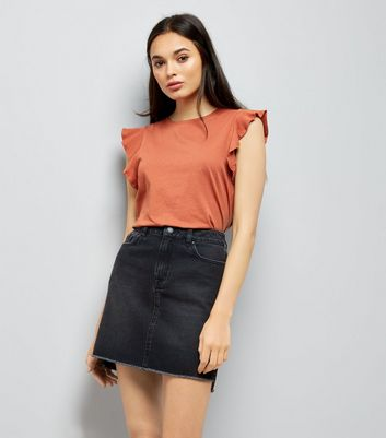 Light Brown Frill Shoulder Top