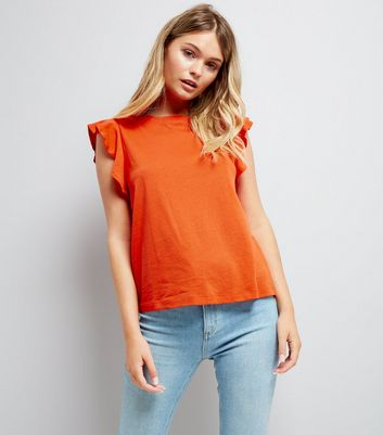 Orange Frill Sleeve Cotton T-Shirt