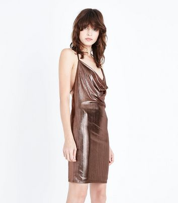 Rose Gold Metallic Cowl Neck Dress