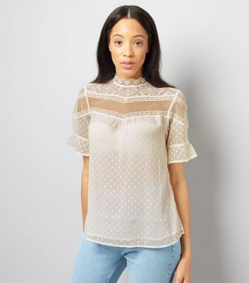 Tall Cream Scallop Lace Textured Top
