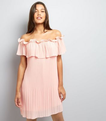 Cameo Rose Shell Pink Bardot Neck Dress