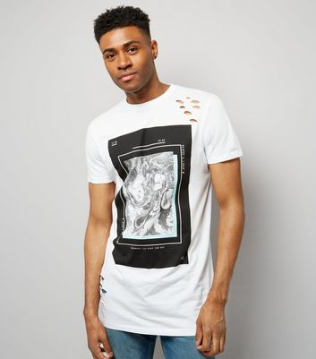 White Ripped Marble Print Longline T-Shirt