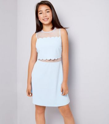 Teens Pale Blue Scallop Mesh Dress