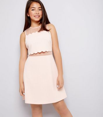 Teens Pink Scallop Mesh Dress