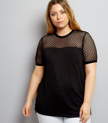 Curves Black Mesh Panel T-Shirt