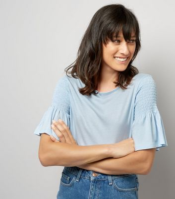 Pale Blue Shirred Shoulder T-Shirt