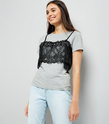 Grey Lace Bralet T-Shirt