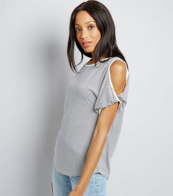 Black Stripe Twist Sleeve Cold Shoulder T-Shirt