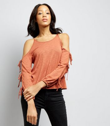 Brown Cold Sholder Tie Sleeve Top