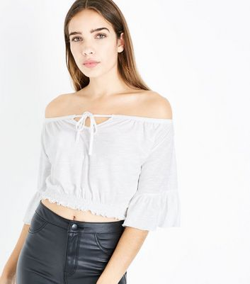 Cream Tie Up Bardot Neck Crop Top