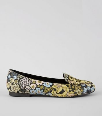 Black Floral Brocade Loafers