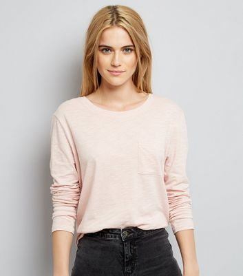 Pink Organic Cotton Long Sleeve Pocket Front T-Shirt