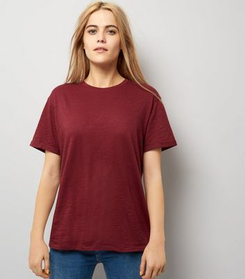 Burgundy Organic Cotton Short Sleeve T-Shirt