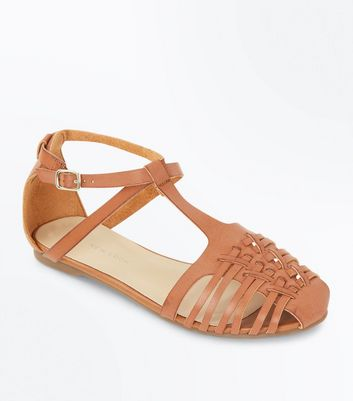 Tan Woven T Bar Pumps