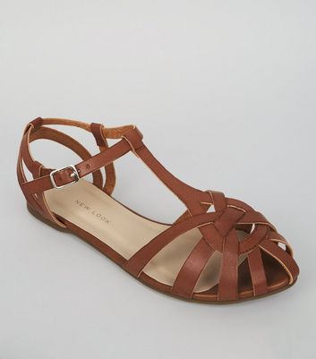 Tan Gladiator Flat Sole Sandals