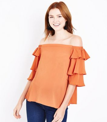 Maternity Orange Tiered Sleeve Bardot Neck Top