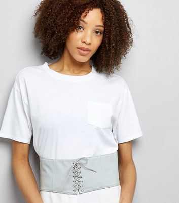Grey Lace Up Corset Belt