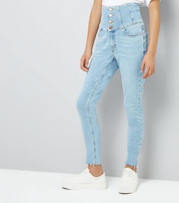 Teens Blue High Waist Corset Jeans