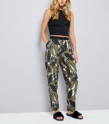Green Palm Tree Print Joggers