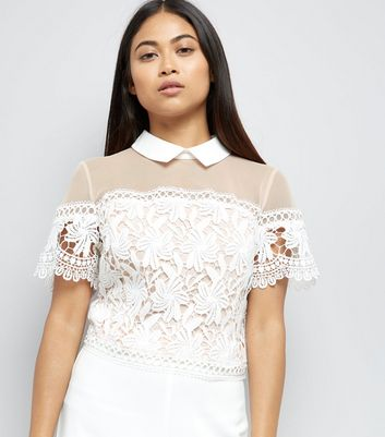 Petite White Lace Collared Top